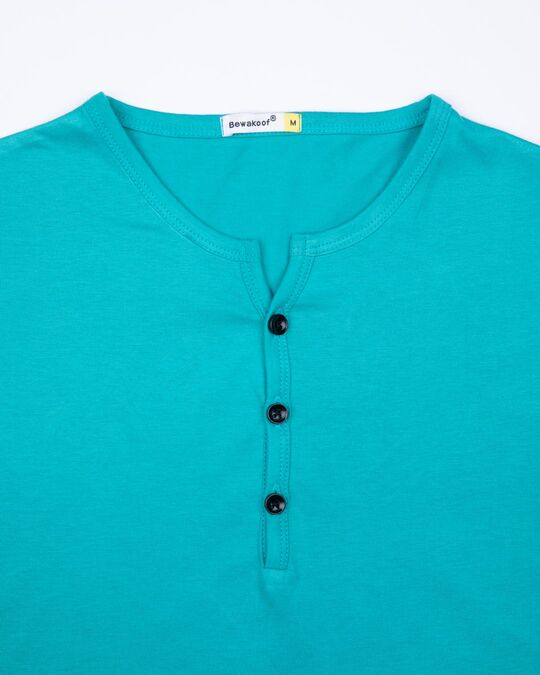 Shop Tropical Blue Full Sleeve Henley T-Shirt