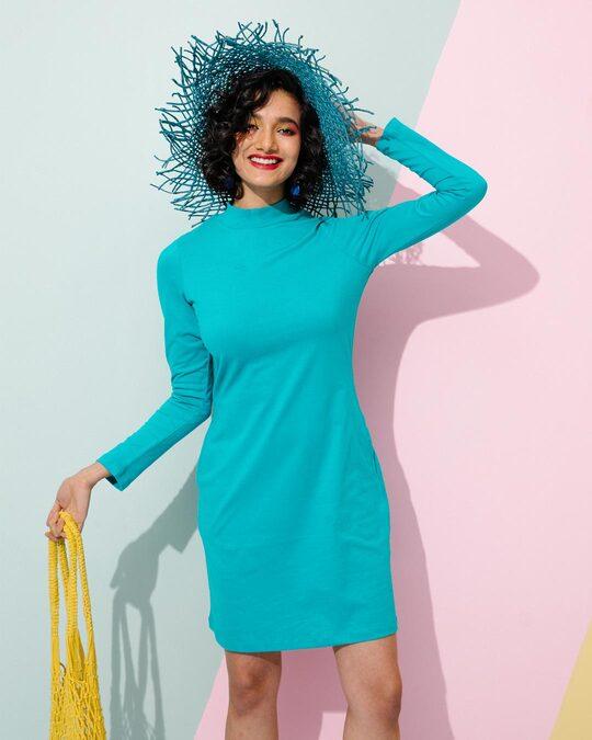 Shop Tropical Blue High Neck Pocket Dress-Front