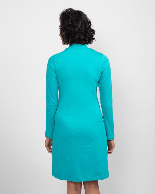 Shop Tropical Blue High Neck Pocket Dress-Full