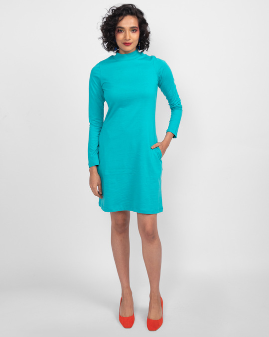 Shop Tropical Blue High Neck Pocket Dress