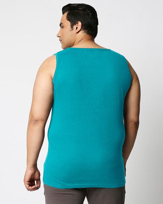 Shop Tropical Blue Men's Plain Vest Plus Size-Design