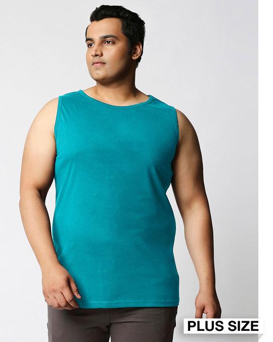 Shop Tropical Blue Men's Plain Vest Plus Size-Front