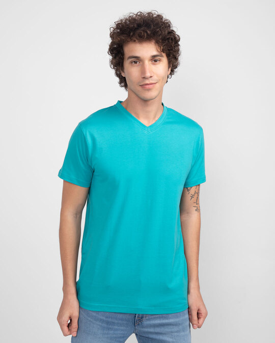 Shop Tropical Blue V-Neck T-Shirt-Back