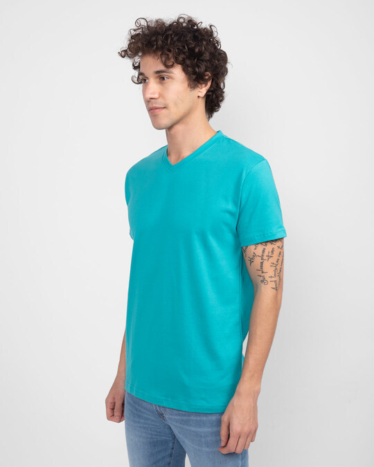 Shop Tropical Blue V-Neck T-Shirt-Design