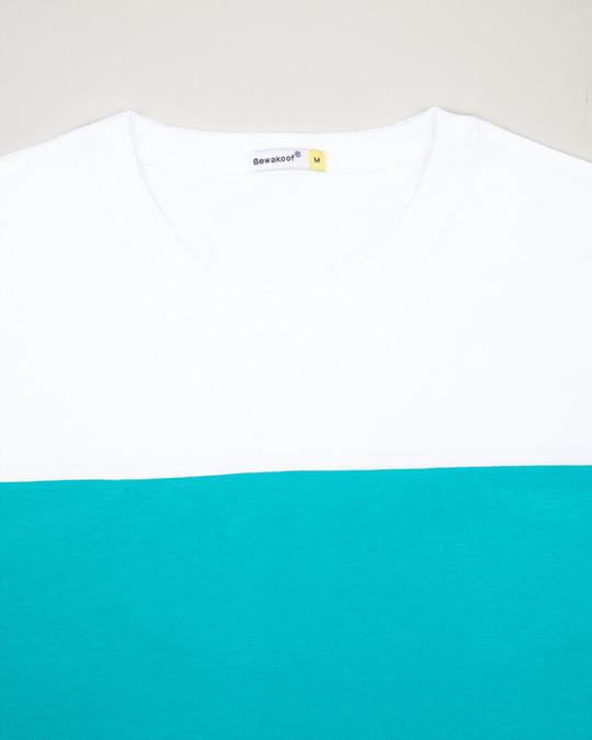 Shop Tropical Blue-White 90's Vibe Panel T-Shirt