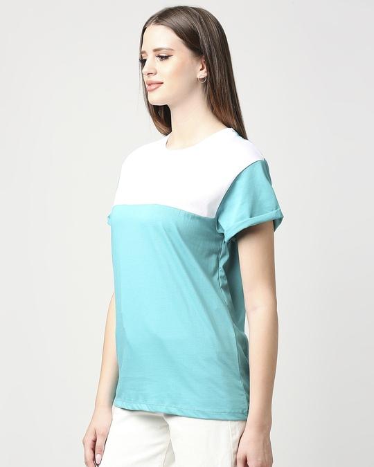 Shop Tropical Blue-White Color Block Boyfriend T-shirt-Design