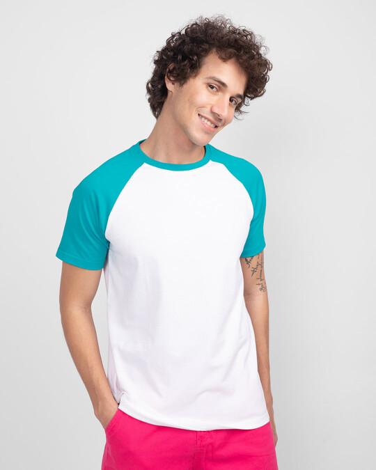 Shop Tropical Blue-White Half Sleeve Raglan T-Shirt-Back