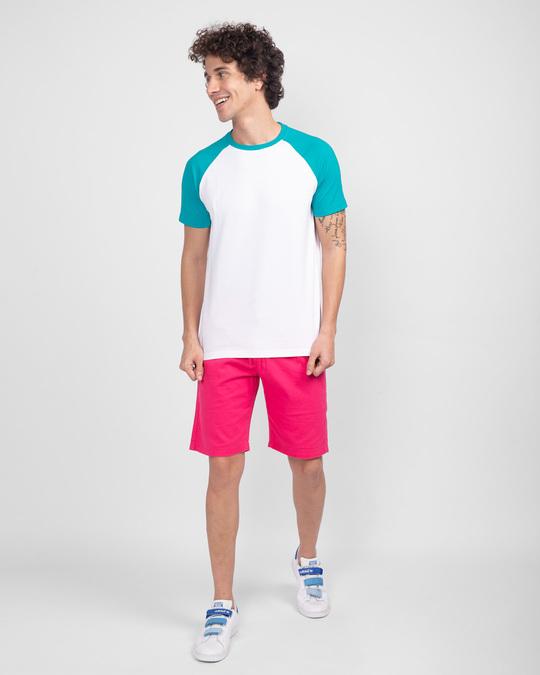 Shop Tropical Blue-White Half Sleeve Raglan T-Shirt