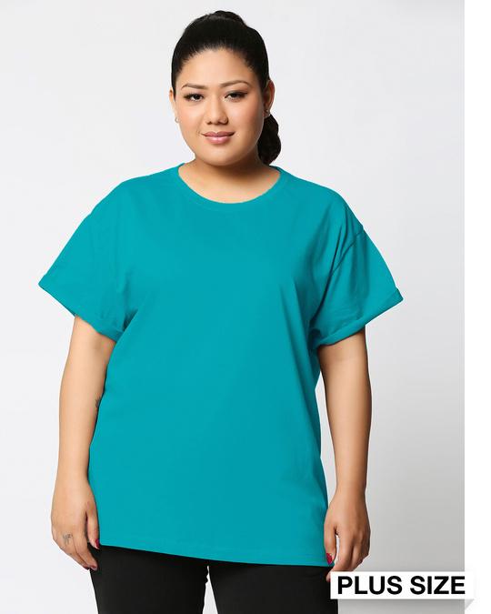 Shop Tropical Blue Women's Boyfriend Plain T-Shirt Plus Size-Front