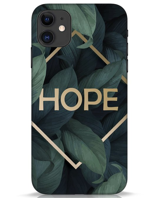 Shop Tropical Leaves Hope iPhone 11 Mobile Cover-Front