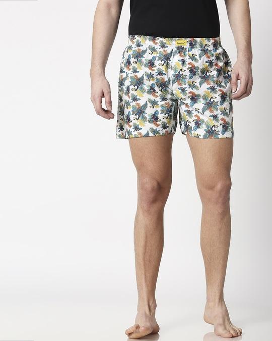 Shop Tropical Toucan Men's Printed Boxers-Back