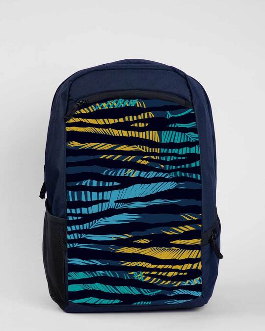 Shop Tropical Zebra Laptop Bag Navy Blue-Front