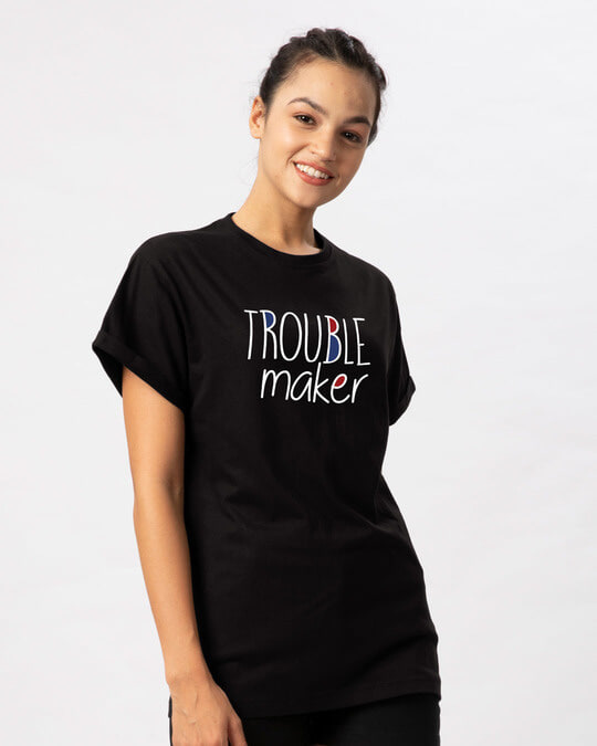 Shop Trouble Maker Typography Boyfriend T-Shirt-Back