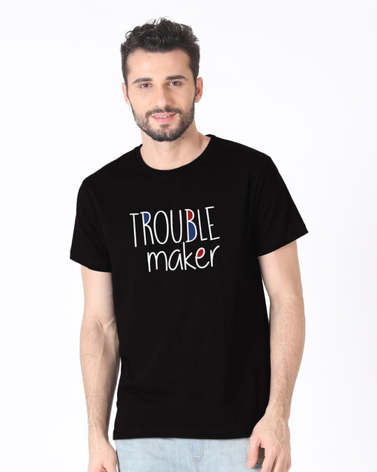 Shop Trouble Maker Typography Half Sleeve T-Shirt-Back