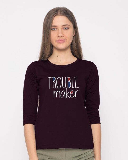 Shop Trouble Maker Typography Round Neck 3/4th Sleeve T-Shirt-Front