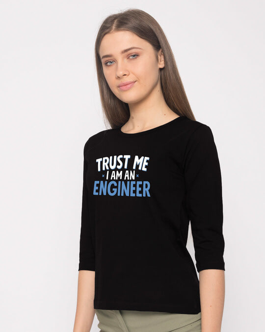 Shop Trust An Engineer Round Neck 3/4th Sleeve T-Shirt-Back