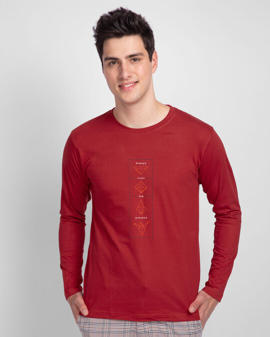 Shop Trust The Process Full Sleeve T-Shirt Bold Red-Back