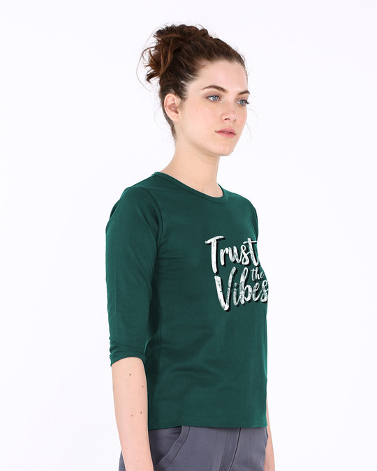 Shop Trust The Vibes Round Neck 3/4th Sleeve T-Shirt-Back