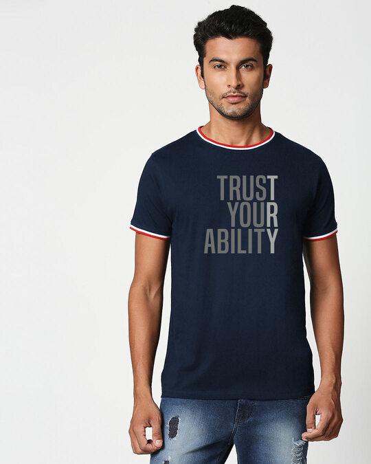 Shop Trust Your Ability Crewneck Varsity Rib H/S T-Shirt Multicolor-Front