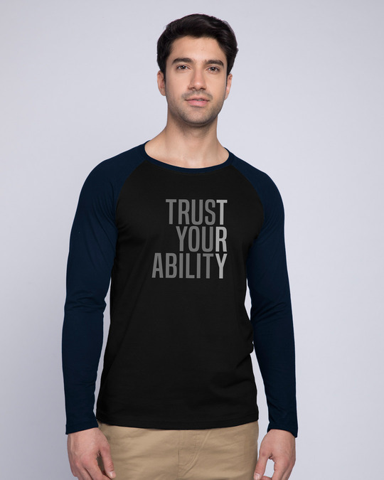 Shop Trust Your Ability Full Sleeve Raglan T-Shirt Navy Blue-Black-Front