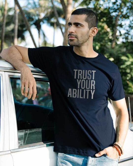 Shop Trust Your Ability Half Sleeve T-shirt Navy Blue-Front