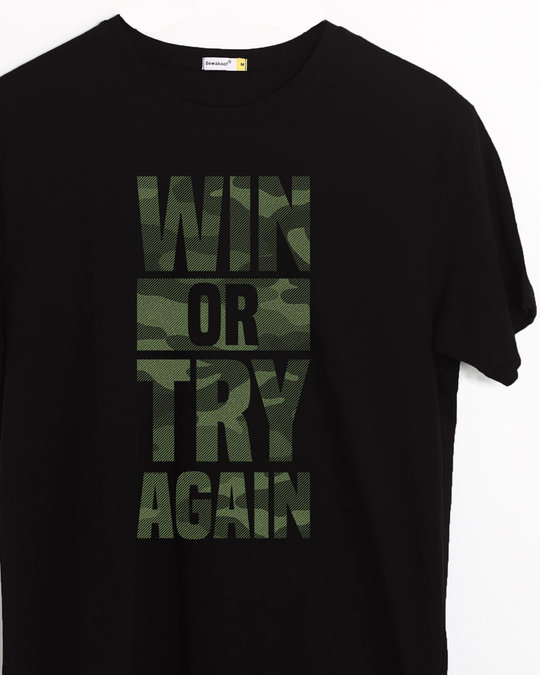 Shop Try Again Half Sleeve T-Shirt-Front