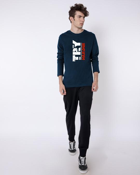 Shop Try Harder Full Sleeve T-Shirt Navy Blue-Full