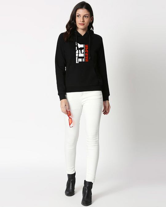Shop Try Harder Sweatshirt Hoodie Black-Design