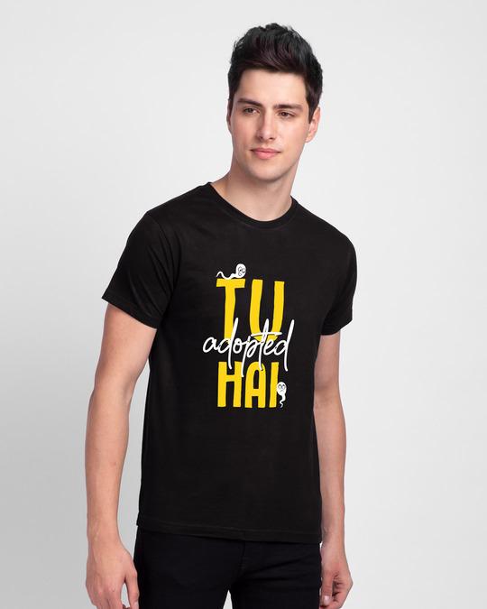 Shop Tu Adopted Hai Half Sleeve T-shirt-Front