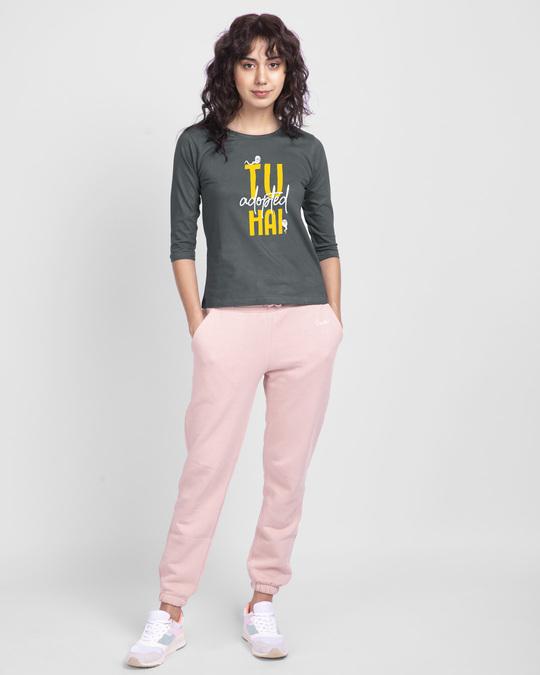 Shop Tu Adopted Hai Round Neck 3/4 Sleeve T-Shirts-Design