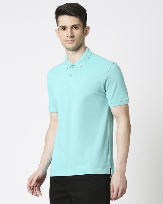 Shop Turquoise Pique Polo-Back