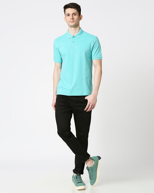Shop Turquoise Pique Polo-Full