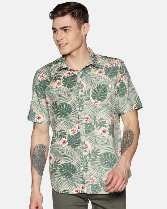 Shop Men Short Sleeve Cotton Printed Green Leafy Beige Shirt-Front