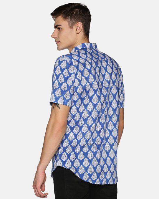 Shop Men Short Sleeve Cotton Printed Jaipuri Block Blue Shirt-Design