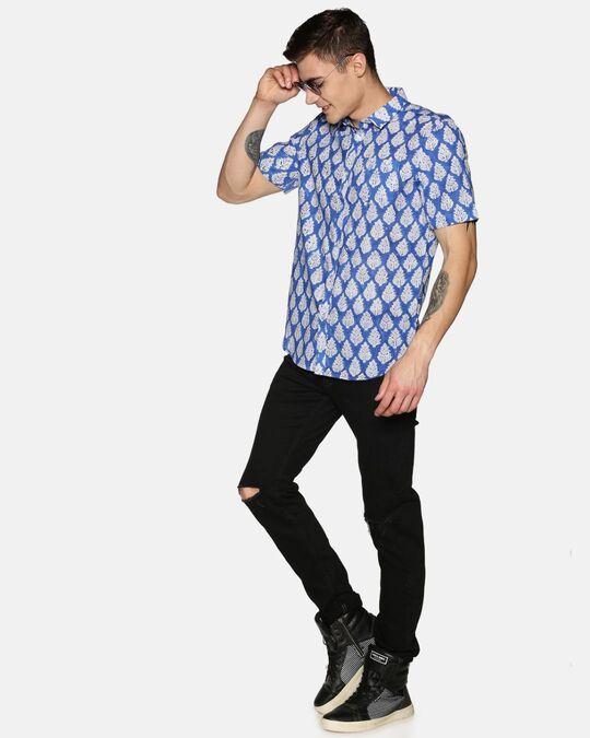 Shop Men Short Sleeve Cotton Printed Jaipuri Block Blue Shirt-Full