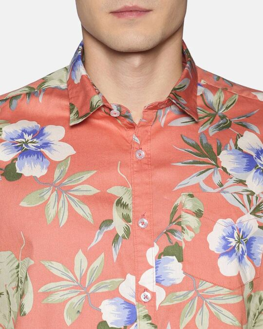 Shop Men Short Sleeve Cotton Printed Pink Shirt