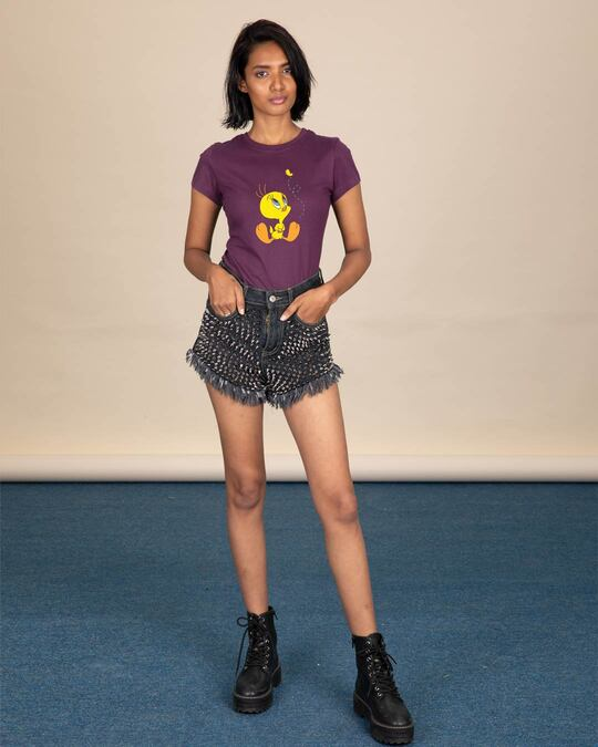 Shop Tweety And The Butterfly Half Sleeve T-Shirt (TWL)-Design