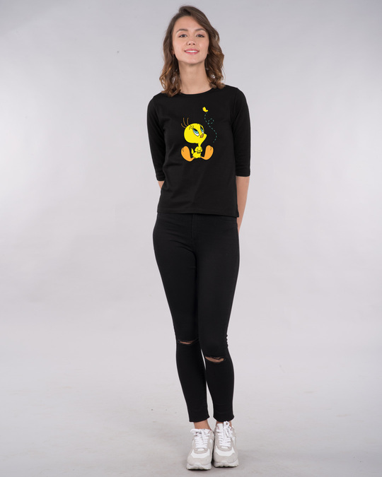 Shop Tweety And The Butterfly Round Neck 3/4th Sleeve T-Shirt (TWL)-Full
