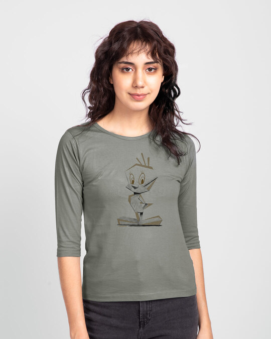 Shop Tweety Origami Round Neck 3/4 Sleeve T-Shirts Meteor Grey-Front