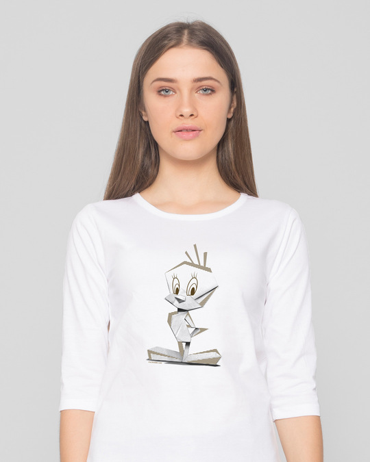 Shop Tweety Origami Round Neck 3/4th Sleeve T-Shirt (LTL) White-Front
