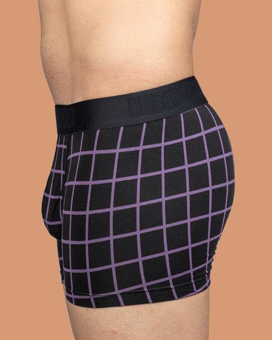Shop Black And Aubergine Checkered Trunks-Design