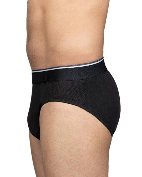 Shop Classic Black Brief With Striped Band-Design