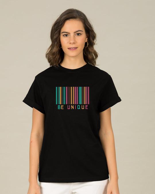 Shop Unique Barcode Boyfriend T-Shirt-Front