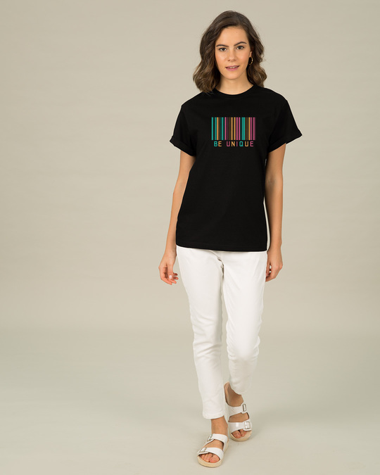 Shop Unique Barcode Boyfriend T-Shirt-Full