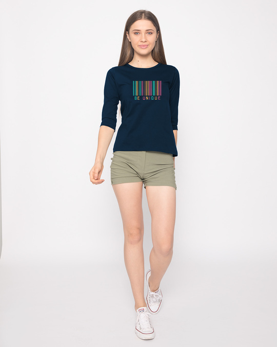 Shop Unique Barcode Round Neck 3/4th Sleeve T-Shirt-Full