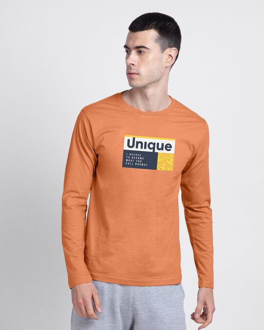Shop Unique Smiley Full Sleeve T-Shirt Vintage Orange-Front