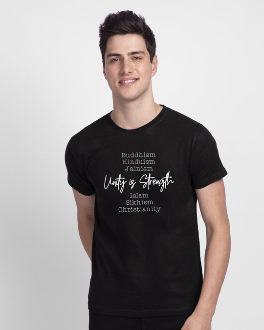 Shop Unity Is Strength Half Sleeve T-Shirt-Front