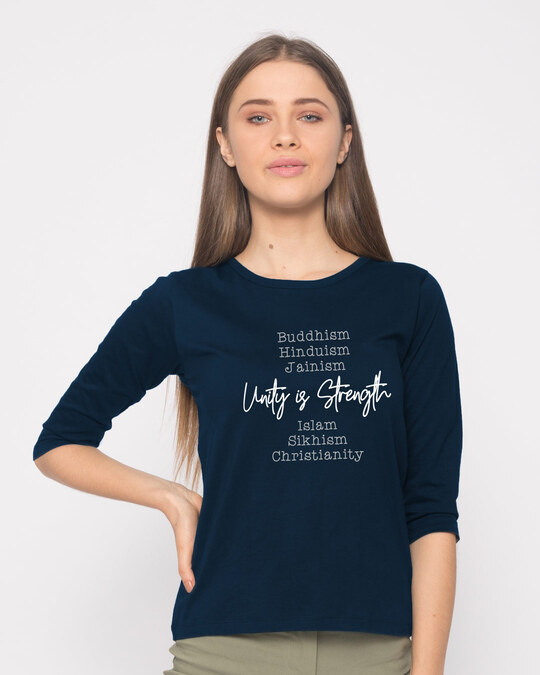 Shop Unity Is Strength Round Neck 3/4th Sleeve T-Shirt-Front
