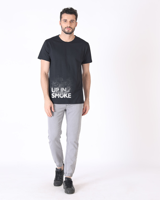 Shop Up In Smoke Typography Half Sleeve T-Shirt