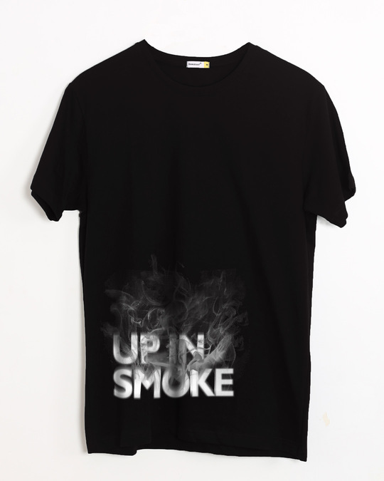 Shop Up In Smoke Typography Half Sleeve T-Shirt-Front